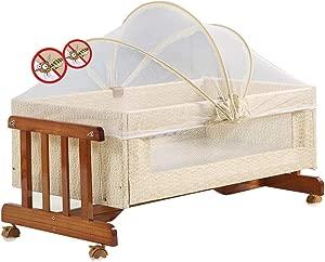 XJJUN-Rocking crib Mosquito Net Wheel Mute Suitable For Swinging Preschool Bumper Wood Corrosion Resistant Formaldehyde-free  Colors  Color Size 93X51X41CM