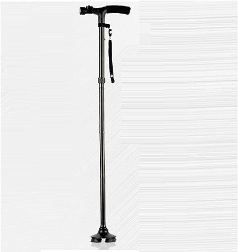 GAOJIAN Old en marchant Sticks AntisEnfant Aluminium 4 Foot Crutches Led Lamp Treillis télescopique pliable Noir