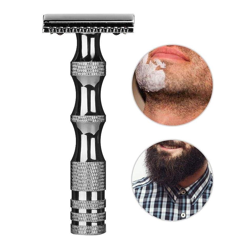 先生足無知安全剃刀、クラシックメンズ滑り止めメタルハンドルデュアルエッジシェーバーヴィンテージスタイルメンズ安全剃刀、スムーズで快適な髭剃り(Dark Silver)