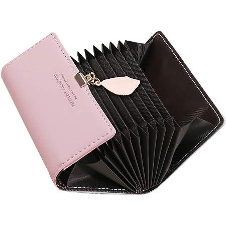 Kreditkartenetui Damen, SAMKING Frauen Leder RFID-Schutz Kartenhalter Geldbörse Klein Geldbeutel Reißverschluss Portemonnaie(Rosa 2)