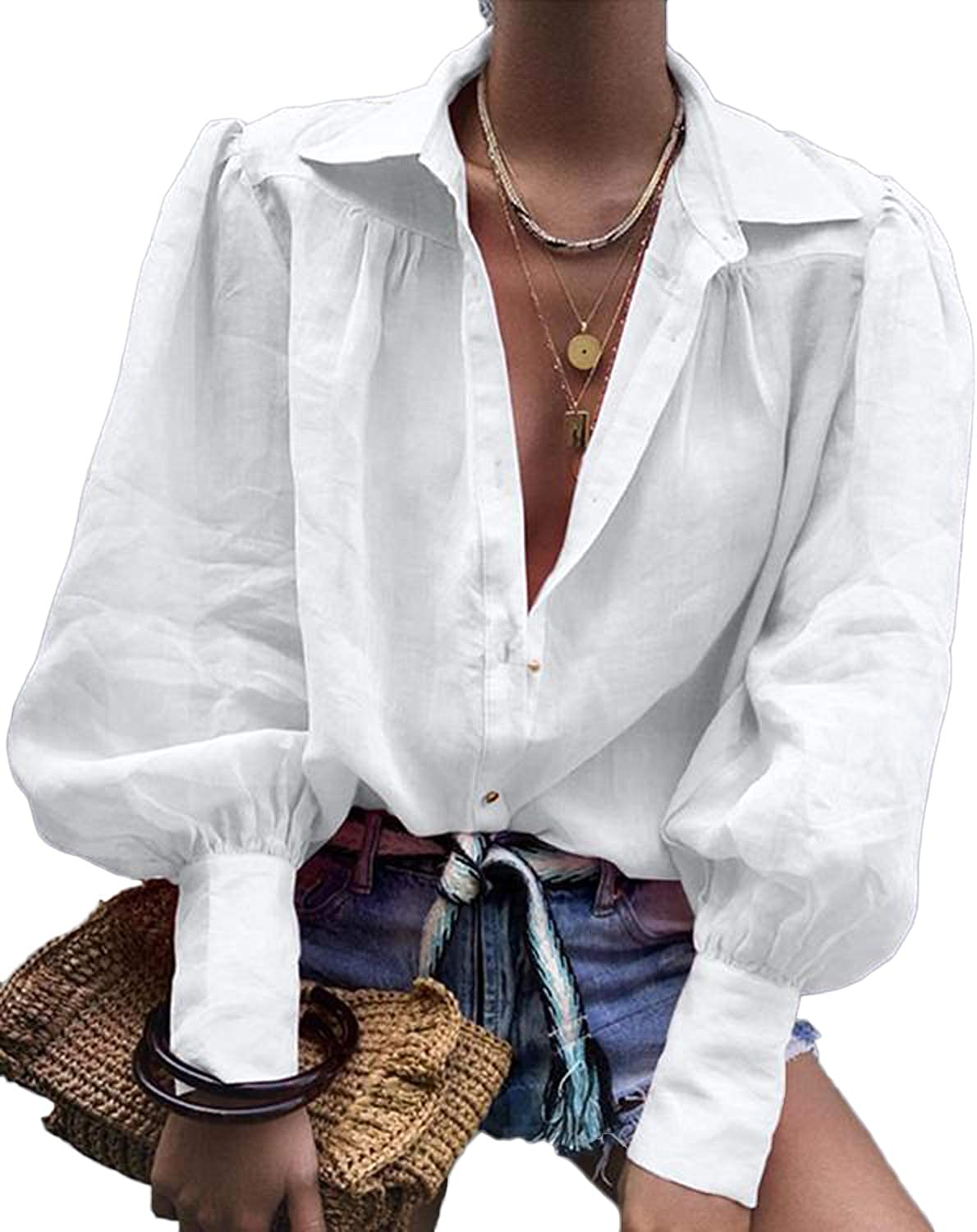 Womens Vintage V Neck Puff Sleeve Button Down Shirts Casual Loose Lantern Long Sleeve Button Blouse Tee Tops