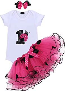 IWEMEK Baby Girl Newborn 1st Birthday Cake Smash 3Pcs Outfits Shinny Sequin Bow Princess Romper+Tutu Skirt Dress+Headband
