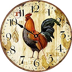 VIKMARI Home Arabic Numerals Wall Clock, Rustic Rooster Style, Silent Non-Ticking Quartz Wooden Clock, 14 Inch Art Wall Decorative Large Wall Clock for Living Room,Bedroom,Kitchen and Office