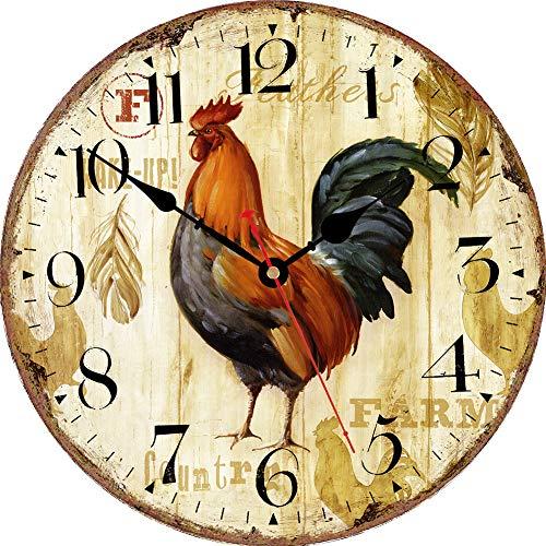 VIKMARI Reloj de Pared silenciosa para no tictac - ejecución del Caballo del patrón Pared de la Cocina Calidad del Reloj de Cuarzo con Pilas del Reloj de Pared Redondo 14 Inch Gallo rústico
