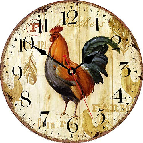 VIKMARI Kitchen Wall Clock 8 Inch Rustic Rooster Silent Non Ticking Wall Clock Quartz Battery Operated Round Wall Clock Easy to Read Wooden Wall Clocks for Living Room,Bedroom,Kids Room and Coffee Bar