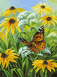 DIY Oil Painting Paint by Number Kit for Kids Adults Beginner 16x20 inch - Butterfly in Flower, Drawing with Brushes Christmas Decor Decorations Gifts (Without Frame)