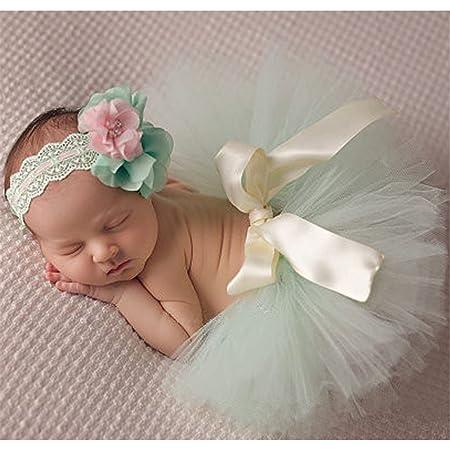 AKAAYUKO Baby M/ädchen Fotografie Prop Tutu Rock mit Blumen Stirnband Farbe Gelb