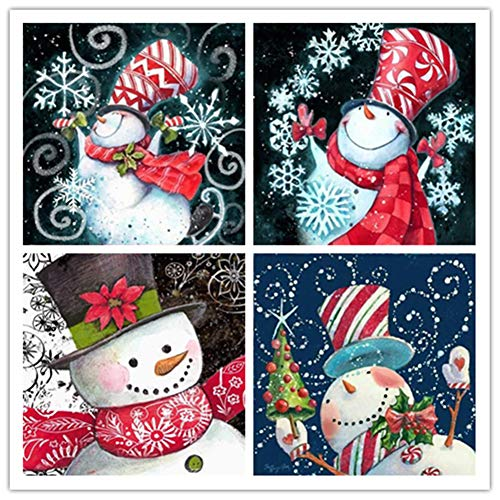 Gofission Diamond Painting Snowman Snowflake by Numbers Kits, DIY 5D Diamond Art Cross Stitch Full Drill Crystal Rhinestones 12x12 inch (4 Pack)