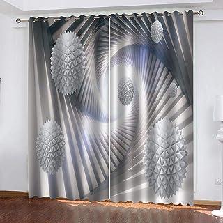 JKZHILOVE Cortinas Opacas Set Bola Blanca 100% Fibra Extrafina Modernas Aislantes Reducción de Ruido Ojales Cortinas para Salón Dormitorio 2 Piezas2x110cmx215cm