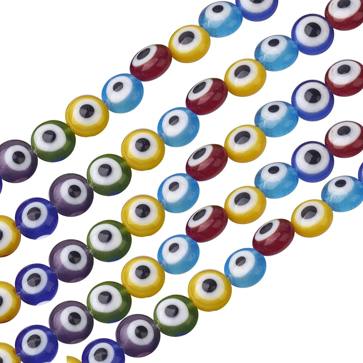 NBEADS 1 Strand (About 51pcs) Mixed Color Flat Round Handmade Evil Eye Lampwork Beads Charms Spacer Beads fit Bracelets Necklace Jewelry Making