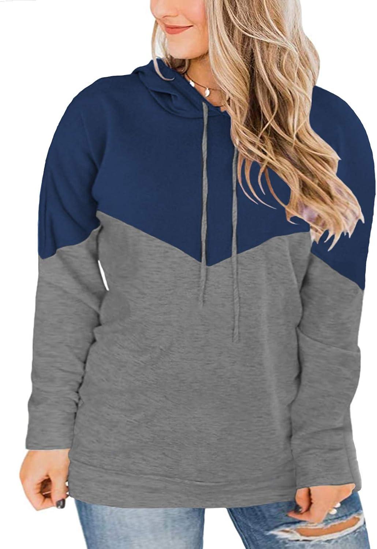 VISLILY Plus-Size hoodies for Women Color Block Pullover Sweatshirts