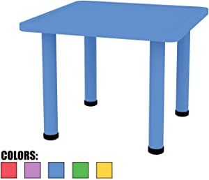 """2xhome – Blue – Kids Table – Height Adjustable 21.5 inches to 22.5 inches - Square Shaped Plastic Activity Table with Metal Legs for Preschool School Learn Play 24"""" x 24"""""""