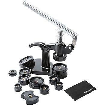 Eventronic Uhr Presse Uhr Einpresswerkzeug Gehäuseschließer Uhr Reparatur Werkzeug mit 12 Druckplatten Kunststoffeinsätze