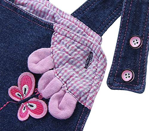 Baby Mädchen Denim Overall Jeans Hose mit Hosenträger Kinder Baumwolle Latzhose Kaninchen Butterfly – 100 - 3