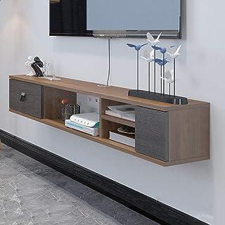 ウォールシェルフフローティング棚テレビ棚壁掛けテレビキャビネット引き出し付きセットトップボックスルータースカイボックステレビのリモコンケーブルボックス収納棚 (色 : ウォールナット色, サイズ さいず : 1.4M)