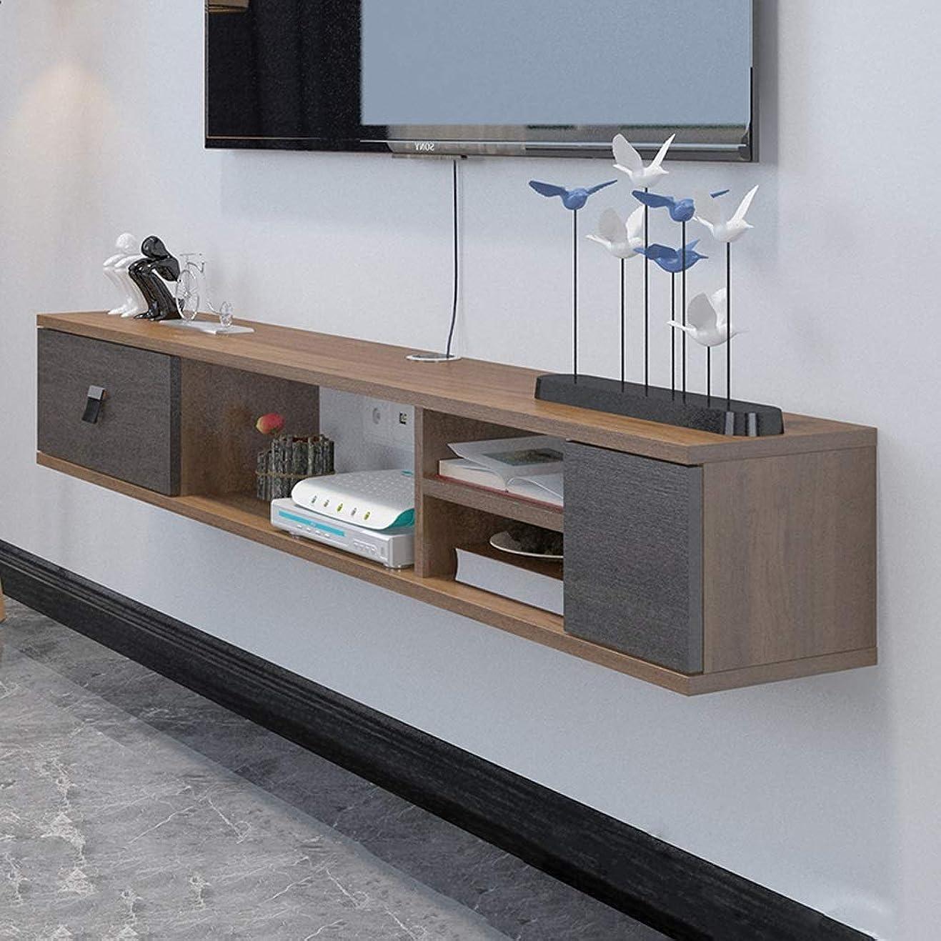 複雑テンション名門ウォールシェルフフローティング棚テレビ棚壁掛けテレビキャビネット引き出し付きセットトップボックスルータースカイボックステレビのリモコンケーブルボックス収納棚 (色 : ウォールナット色, サイズ さいず : 1.4M)