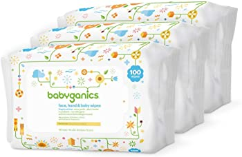 3-Pack Babyganics Baby Wipes Unscented 100 ct
