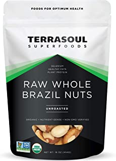 Terrasoul Superfoods Organic Brazil Nuts, 1 Lb - Raw | Unsalted | Rich in Selenium