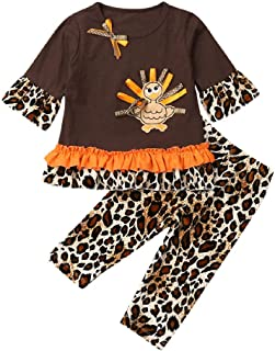 KMBANGI Toddler Kids Baby Girl Thanksgiving Outfit Clothes Long Sleeve Ruffle Turkey T Shirt Tops Leopard Print Pants Set