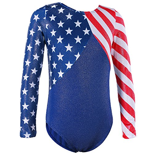 Gymnastics Leotards for Toddler Girls Patriotic Sparkle Red Blue Athletic Dancewear B146_US_12A