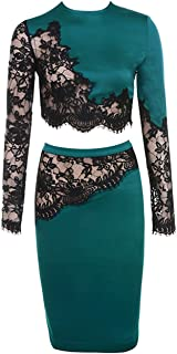 Maketina Women Transparent Lace Long Sleeve Midi Cocktial Party Two Piece Bodycon Dress