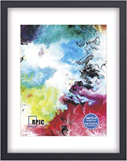 RPJC 14x18 Soild Wood Poster Frames with High Definition Glass Cover Display Pictures 11x14 with Mat or 14x18 Without Mat for Wall Mounting Hanging Picture Frame Black