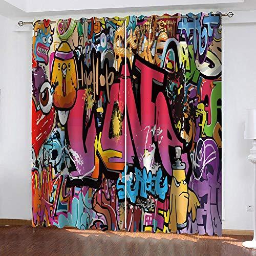 Giunuak 3D Thermisch Isolierte Verdunkelungsvorhänge Alphabet Graffiti Energiesparende Verdunkelungsvorhänge Blackout 3D Curtain Schlafzimmer Wohnzimmer 2 Stück 150Wx166H cm