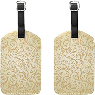 MASSIKOA Golden Roman Flowers Cruise Luggage Tags Suitcase Labels Bag,2 Pack