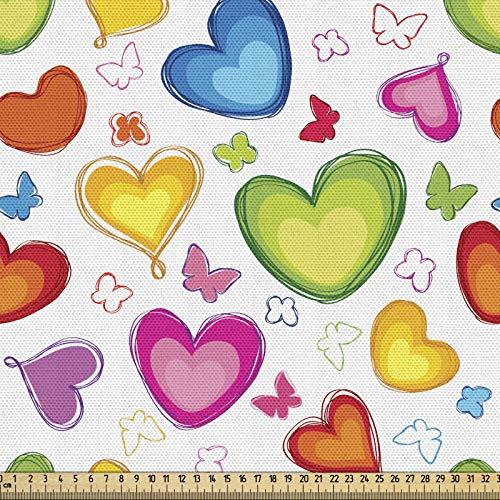 ABAKUHAUS Amor Tela por Metro, Colorido De Las Mariposas Feliz, Decorativa para Tapicería y Textiles del Hogar, 1M (148x100cm), Multicolor