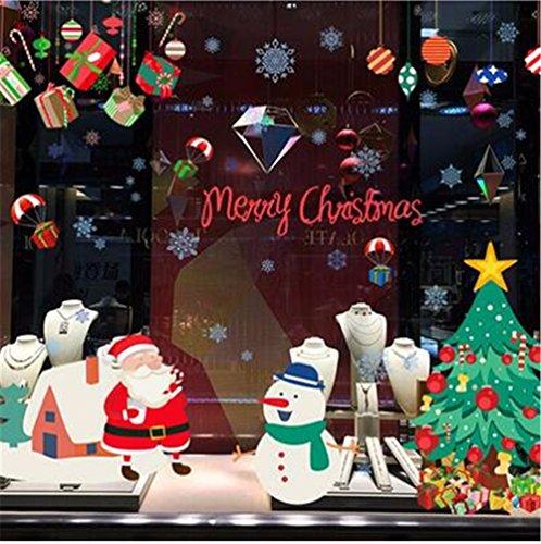 Sticker mural Noël Père Noël Bonhomme de neige arbre verre flocon Boutique Autocollant vitrophanie papier Sticker décoratif mural 60X90CM