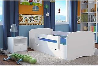 Lit Enfant Blanc Avec Matelas Inclus 70x140 80x160 80x180 cm Lit Enfants Avec Barrière de Sécurité Tiroir et Sommier – Pou...