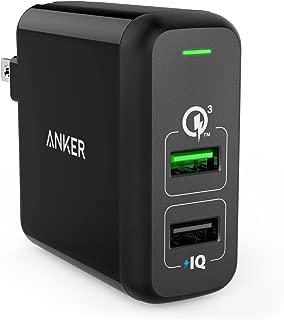 Anker PowerPort 2 Quick Charge 3.0 (31.5W 2ポート USB急速充電器 )【PSE認証済 / PowerIQ搭載 / QC3.0対応】 iPhone、Android各種対応 (ブラック)