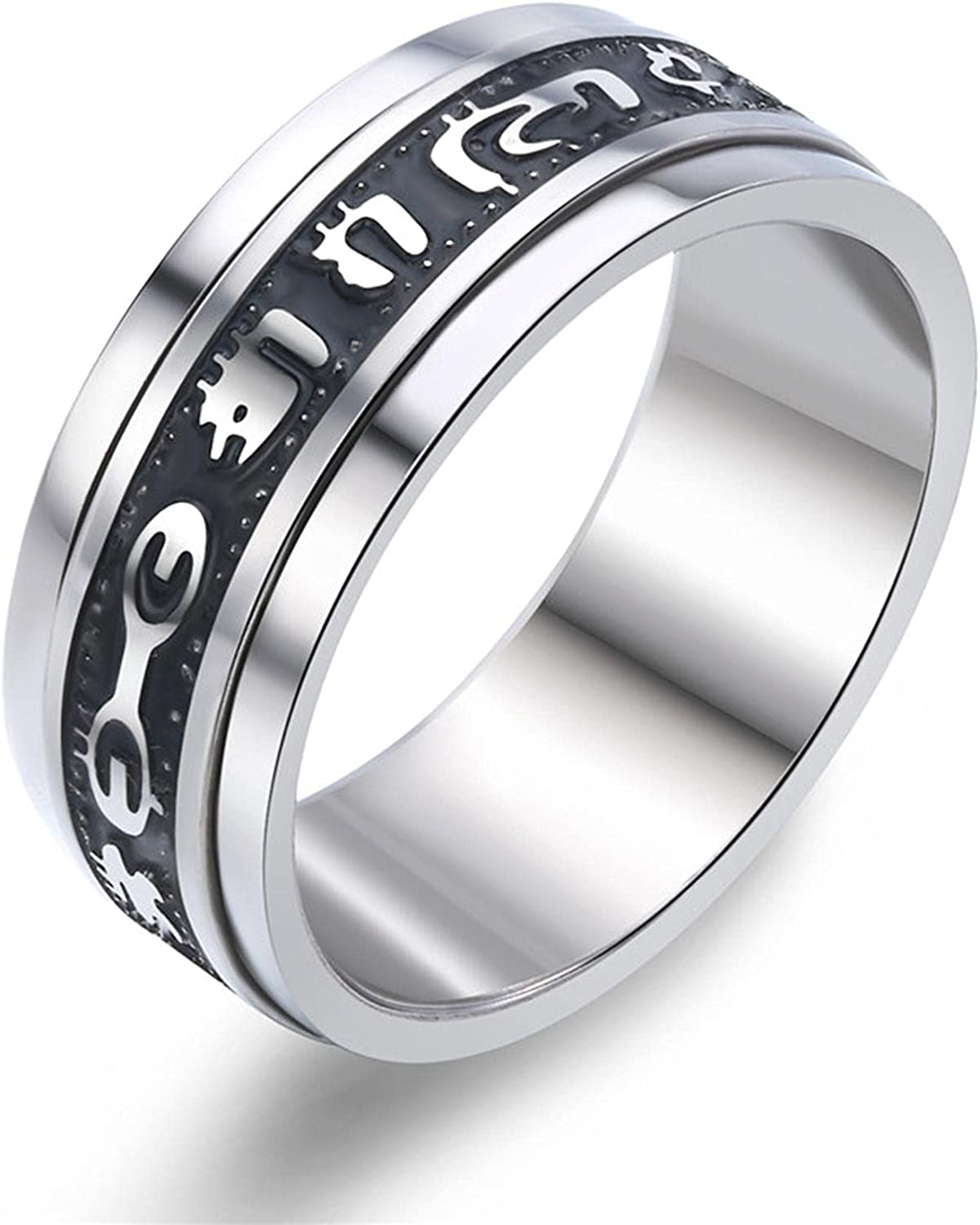 Fashion European Smooth Mail order Roman Black Max 41% OFF Mantra Ring Character Bright