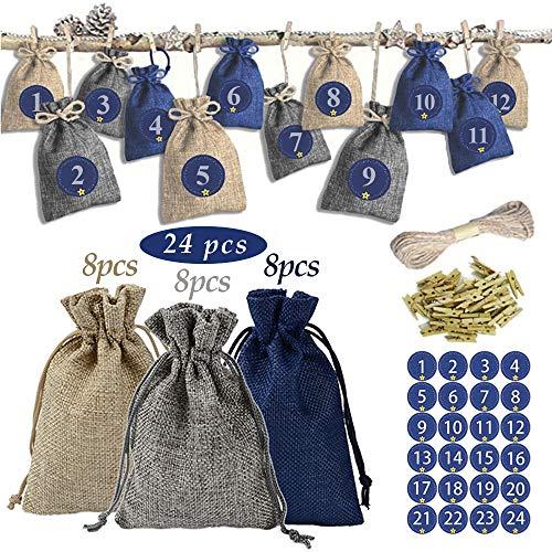 ZoneYan Calendario adviento saquitos, Set de 24 Bolsas de Yute para Rellenar con Calendario de Adviento Casero, 24 Calendario de Adviento -Saquitos de Tela.