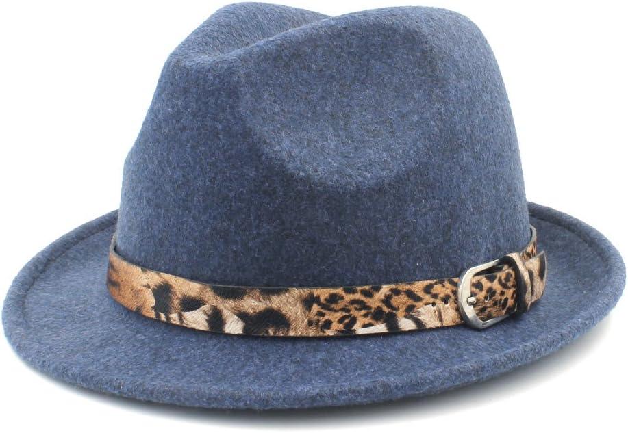 GR for Elegant Lady Cashmere Trilby Fedora Jazz Hat with Leopard Belt Women's Men's Wool Felt Homburg Jazz Fedora Hat (Color : Blue, Size : 57-58cm)