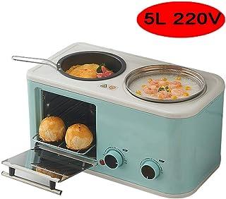 HIGHKAS Mini Horno eléctrico 5L con sartén Olla, múltiples Funciones cocción Parrilla, Control Temperatura Ajustable 1200W, Rosa