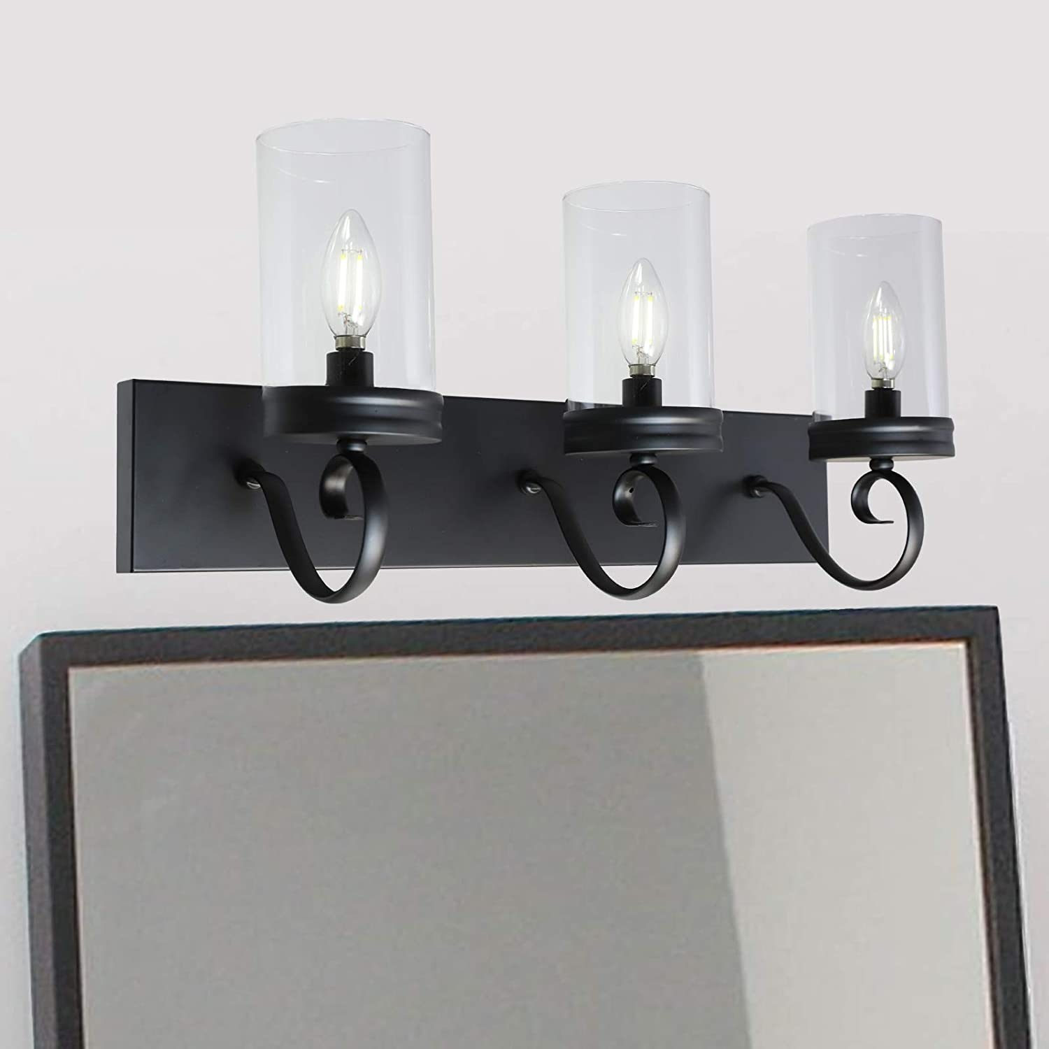 Lucidce 20 Light Farmhouse Vanity Lights Black Bathroom Lighting Fixtures  with Clear Glass Shade Retro Rustic Wall Lights for Bedroom Living Room