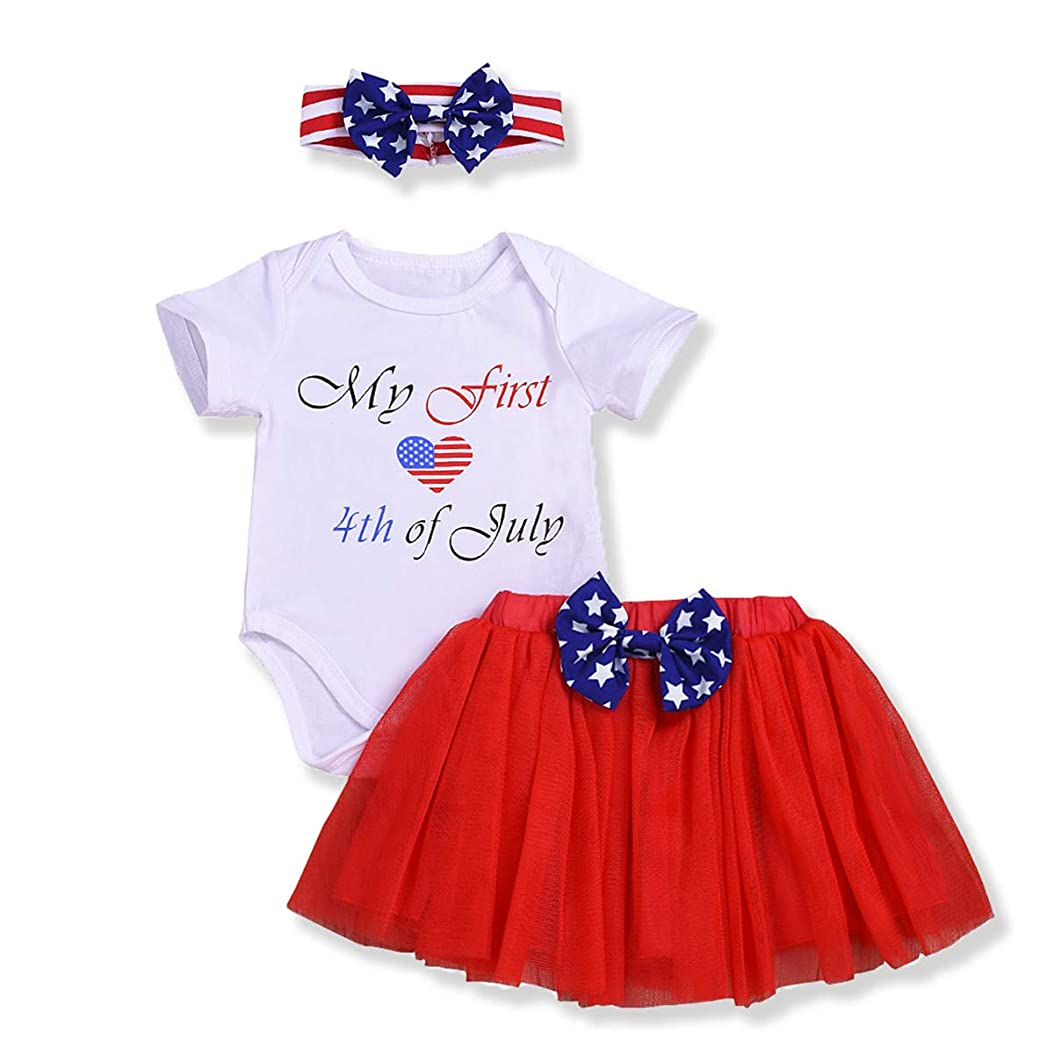 My 1st 4th of July Outfits Baby Girl Heart American Flag Romper Tutu Dress with Bow Headband Independence Day Set