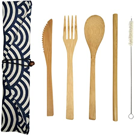 HMM Juegos de Cubiertos Reutilizables de bambú Natural, Cuchillo de bambú, Tenedor, Cuchara, Cepillo de Paja y Juego de Viaje portátil