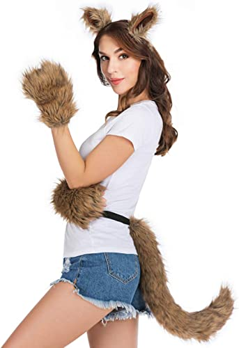 HAOAN Wolf Fox Tail Clip Ears and Gloves Set Halloween Christmas Fancy Party Costume Toys Gift for Children or Adult