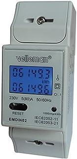 Velleman EMDIN02 - Medidor de kwh para Uso Profesional, Doble módulo, Montaje en riel DIN.