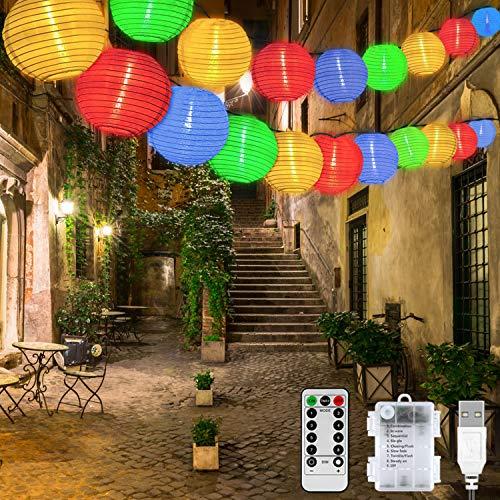 Cadena de luces exterior con pilas y USB, cadena de luces con 40 ledes en colores para jardín, terraza, balcón, fiesta y celebraciones