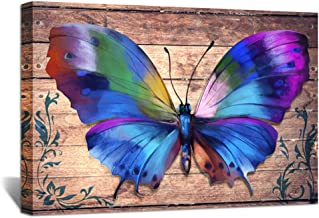 ZingArts 3 Panel Canvas Wood Wall Decor Nature Inspired Colorful Butterfly Vintage Wooden Style Animal Painting Giclee Canvas Prints Framed Canvas Artwork for Bedroom Home Decor 24x36inch