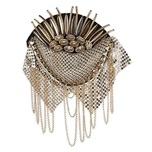 Broche triángulo de tela de metal dorado cadena borla broche de charola tabla de hombro marca punk con oro