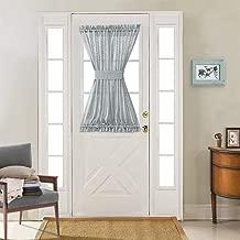 jinchan French Door Panel Curtains Linen Textured Sheer French Door Panels with a Bonus Tieback, 52 Width x 40 Length, Grey
