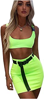 Best lime green crop top and skirt Reviews
