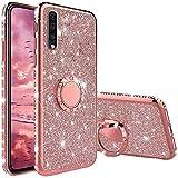 XTCASE Hülle für Samsung Galaxy A50 / A30s, Glitzer Bling Glänzend Strass Diamant Handyhülle mit 360 Grad Ring Ständer Superdünn Stoßfest TPU Silikon Tasche Schutzhülle - Rosé Gold