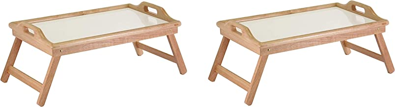 Byya Bed Tray Table with Folding Legs Wooden Wide Breakfast Serving Tray Lap Desk with Sides and Handles Brown