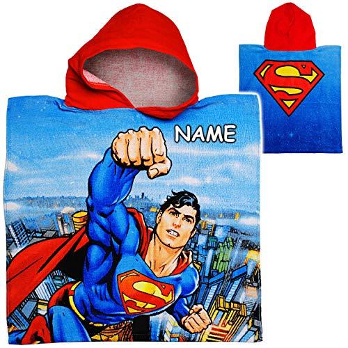 alles-meine.de GmbH Badeponcho / Kapuzenhandtuch - Superman - inkl. Name - 100 % Baumwolle - 50 cm * 105 cm - 2 bis 6 Jahre Poncho - mit Kapuze - Frottee / Velours - Handtuch STR..