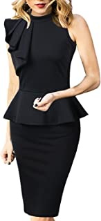 VFSHOW Womens Mock Neck Ruffle Peplum Business Cocktail Party Sheath Dress